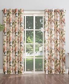 """Fiji Botanical Print Indoor-Outdoor Room Darkening Grommet Curtain Panel, 54"""" x 108"""""""