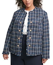 Plus Size Fringed Tweed Jacket
