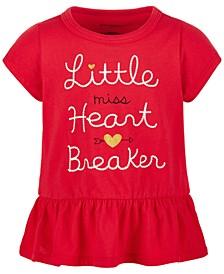 Toddler Girls Heart Breaker Peplum Cotton T-Shirt, Created for Macy's