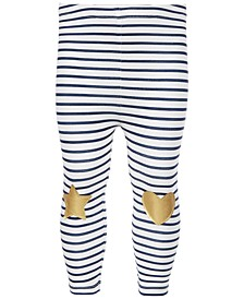 Baby Girls Striped Knee-Patch Leggings, Created for Macy's