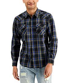 Men's Silas Western Plaid Shirt, Created for Macy's