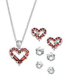 """Fine Silver Plate Cubic Zirconia Heart Necklace and Stud Earring Set, 18"""" + 3"""" extender"""