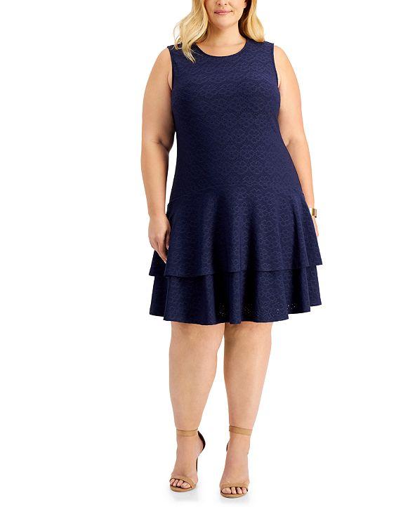 Michael Kors Plus Size Floral Tiered Dress