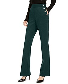 INC Side-Button Bootcut Pants, Created for Macy's
