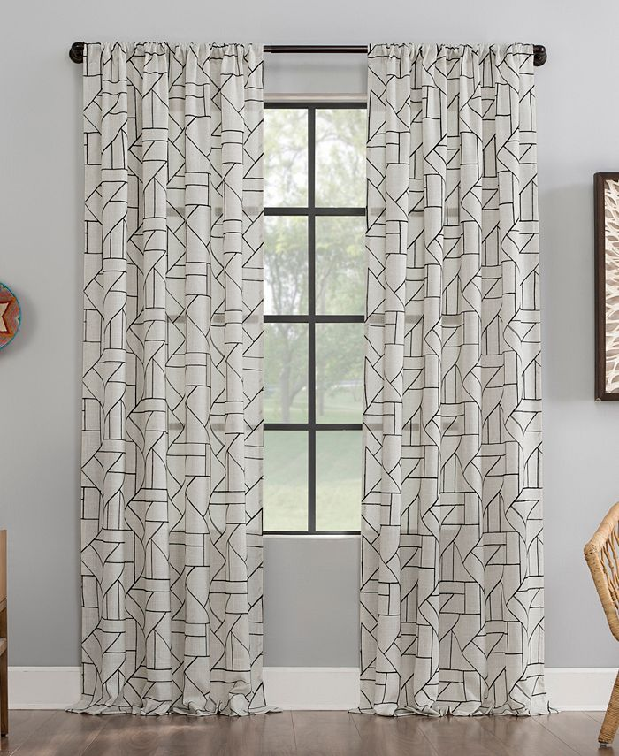 Archaeo - Jigsaw Embroidery Linen Blend Curtain Collection