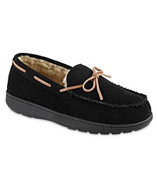 Men's Genuine Suede Moccasin Comfort Slipper with Berber lining