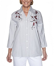 Women's Plus Size Madison Avenue Embroidered Stripe Shirt