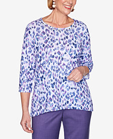Alfred Dunner Women's Plus Size Wisteria Lane Animal Print Top