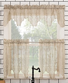 "Alison Floral Lace Rod Pocket Kitchen Curtain Valance And Tiers Set, 58"" x 24"""