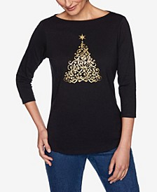 Women's Plus Size Sparkling Tree Printed Knit Top