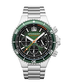 Men's Hydrofoil Chrono Silver-Tone Stainless Steel Bracelet Watch 43mm