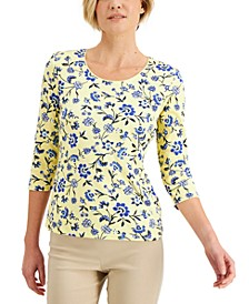 Petite Sunshine Fans Printed Top, Created for Macy's
