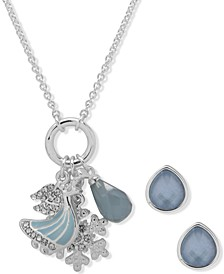 Silver-Tone Winter Charm Pendant Necklace & Earring Set