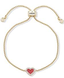 Gold-Tone Pavé Colored Heart Slider Bracelet
