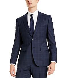 Hugo Boss Men's Classic-Fit Blue Plaid Suit Jacket