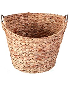 Water Hyacinth Wicker Large Round Storage Laundry Basket with Handles