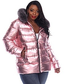 Women's Plus Size Metallic Puffer Coat with Hoodie