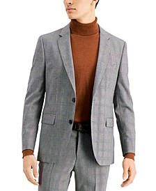 Men's Classic-Fit Silver Plaid Suit Jacket