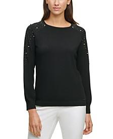 Rhinestone-Embellished Studded Sweater