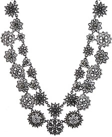 """Hematite-Tone Crystal & Imitation Pearl Cluster Double-Row Statement Necklace, 16"""" + 3"""" extender"""