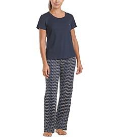 Solid T-Shirt & Printed Pants Pajama Set