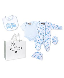 Baby Boys Bear and Train Footie 5 Piece Layette Gift Set