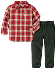 Toddler Boys Plaid Woven with Cord Jogger Pant Set, 2 Piece
