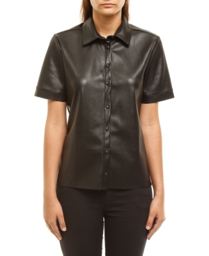 Women's Faux Leather Poplin Shirt