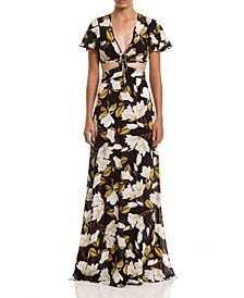 Women's Slit Print Long Dress