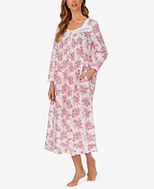 Floral-Print Long-Sleeve Cotton Ballet Nightgown