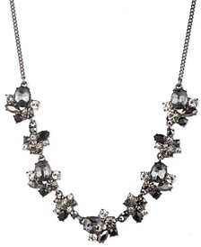 "Hematite-Tone Jet Stone Frontal Necklace, 16"" + 3"" extender"