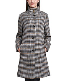 Stand-Collar Houndstooth Walker Coat