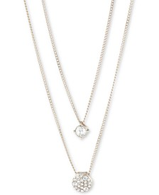 """Scattered Crystal Adjustable Two-Row Pendant Necklace, 16 + 3"""" extender"""