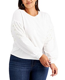 Trendy Plus Size Faux-Pearl-Embellished Puff-Sleeve Top