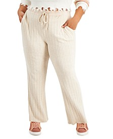 Trendy Plus Size Ribbed Flare-Leg Pants