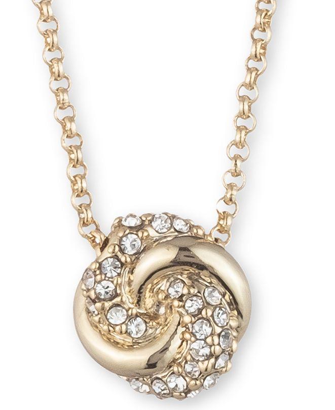 """Lauren Ralph Lauren Gold-Tone Pavé Knot Pendant Necklace, 16"""" + 3"""" extender"""
