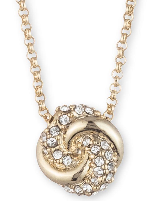 """Lauren Ralph Lauren - Gold-Tone Pavé Knot Pendant Necklace, 16"""" + 3"""" extender"""