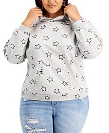 Trendy Plus Size Distressed Hoodie