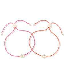 Gold-Tone 2-Pc. Set Knot Cord Slider Bracelets