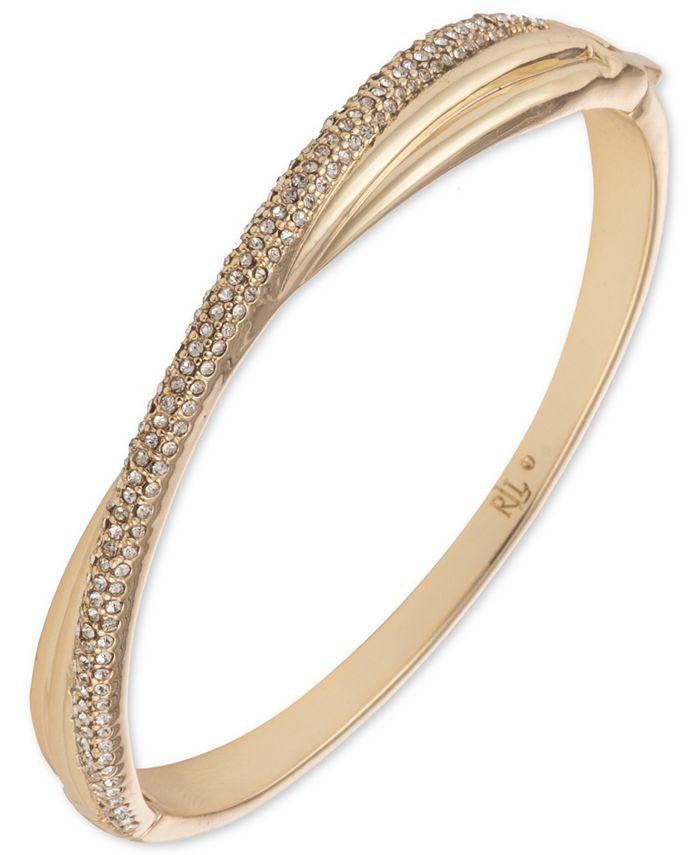 Lauren Ralph Lauren - Gold-Tone Pavé Twist Bangle Bracelet