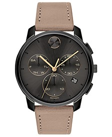 Men's Swiss Chronograph BOLD Taupe Leather Strap Watch 42mm