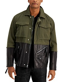 INC Men's Mixed-Media Pieced Colorblocked Jacket, Created for Macy's