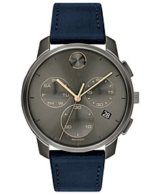 Men's Swiss Chronograph BOLD Navy Leather Strap Watch 42mm