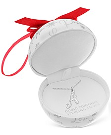 "Cubic Zirconia 18"" Initial Cursive Christmas Pendant Necklace in Sterling Silver in Ornament Box, Created for Macy's"