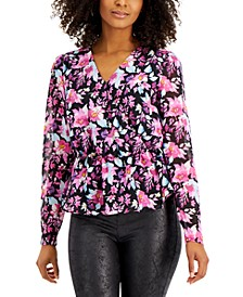 Floral-Print Peplum-Hem Top, Created for Macy's