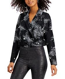 Star-Print Surplice Bodysuit, Created for Macy's