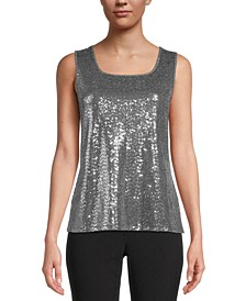 Sequined Square-Neck Camisole Top