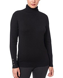 Women's Solid Turtleneck Sweater with Button Cuff