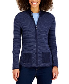 Petite Textured Zip-Front Cardigan, Created for Macy's