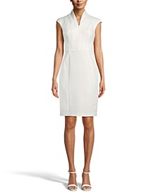 Zip-Front Crepe Sheath Dress